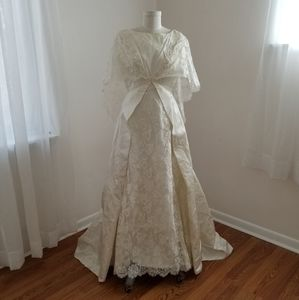 60s empire waist satin and lace wedding gown as is